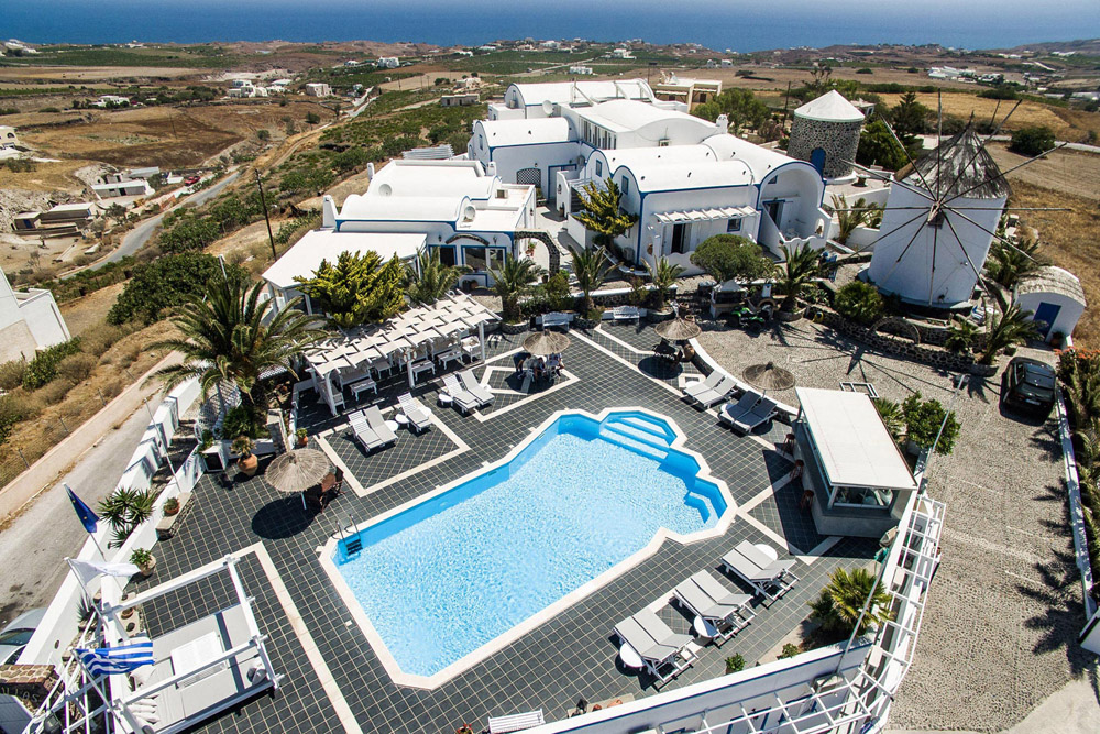 This Cycladic Complex Boasts An Authentic 250 Year Old Traditional Windmill By The Pool With Terrace And View To Whole Island Of Santorini